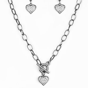 Harvard Hearts - Black Rhinestone Necklace Set